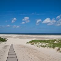Het strand vanaf de duinen bij Hoorn